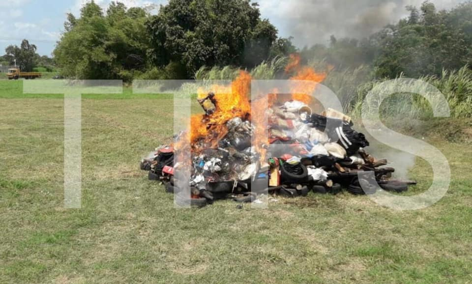 Police Burn Drugs at Caroni Cremation Site