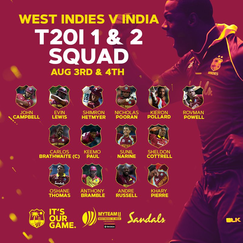 Narine, Pollard Recalled to West Indies T20 Squad
