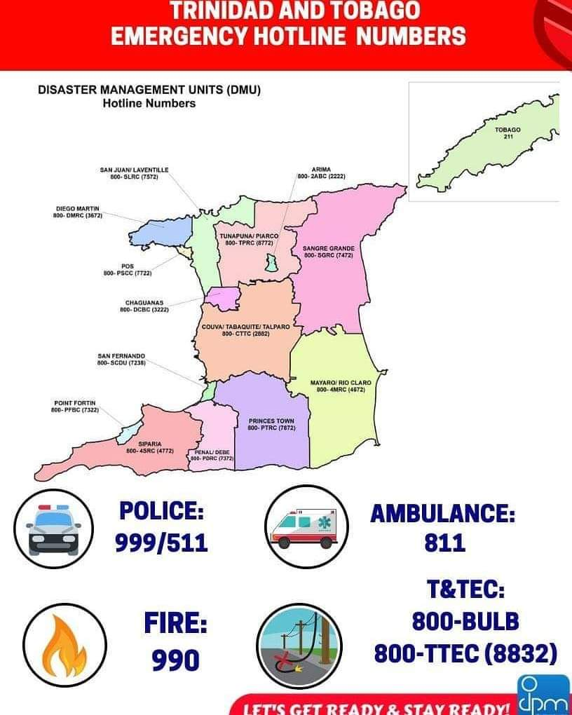 Trinidad and Tobago Emergency Hotline Numbers