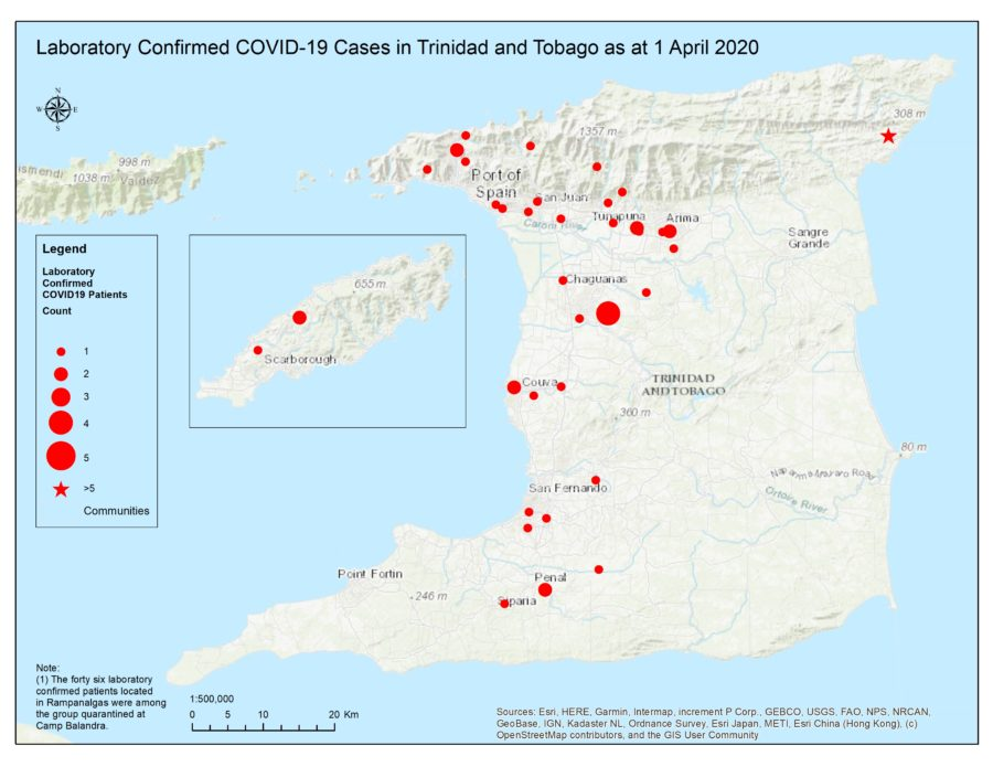 Map Shows Most Covid-19 Cases in West Trinidad