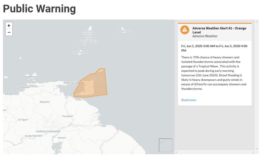 Orange Level Alert as Tropical Wave Passes Over TT