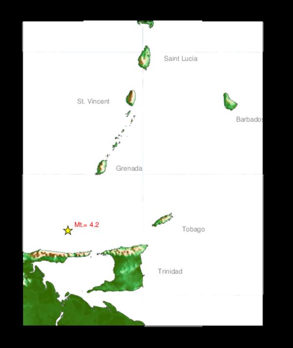 4.2 Earthquake North West of Trinidad