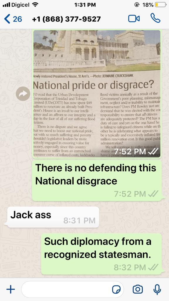 FFOS says PM Uses 'Jack Ass' in WhatsApp Message