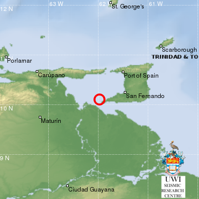5.3 Magnitude Earthquake Recorded off Trinidad