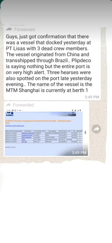 Fake News, No Dead Crewmen at Pt Lisas