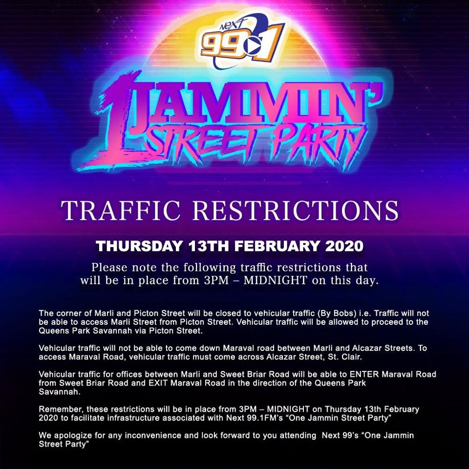'Street Party' Causes Traffic Restriction on Maraval Road