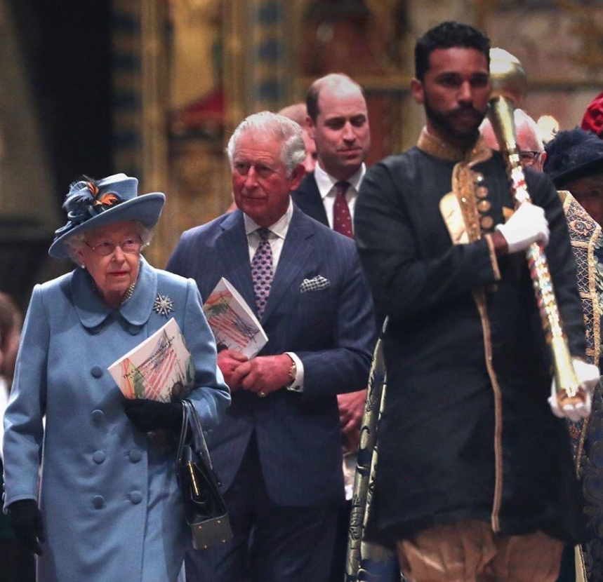 Trini Mace Bearer Leads Queen into Westminster Abby