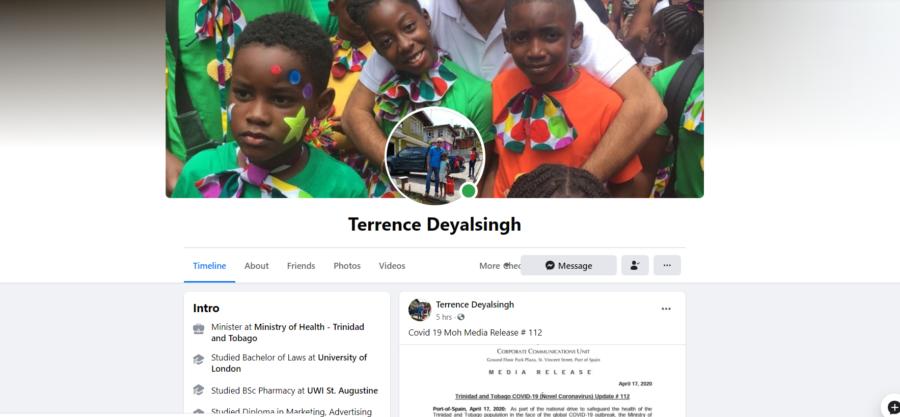Deyalsingh says his Facebook Page has been Hacked
