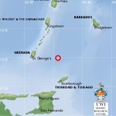 4.5 Magnitude Earthquake just off Tobago