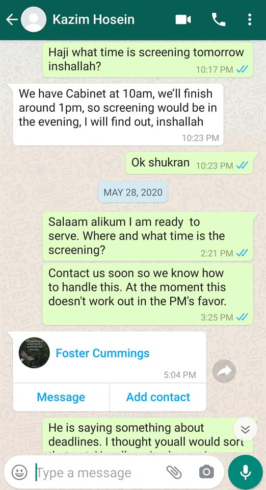 Fuad Abu Bakr Posts WhatsApp Chat with PNM Minister