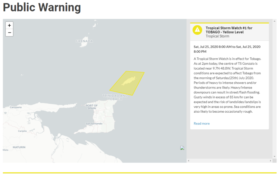 Tobago Under Tropical Storm Watch