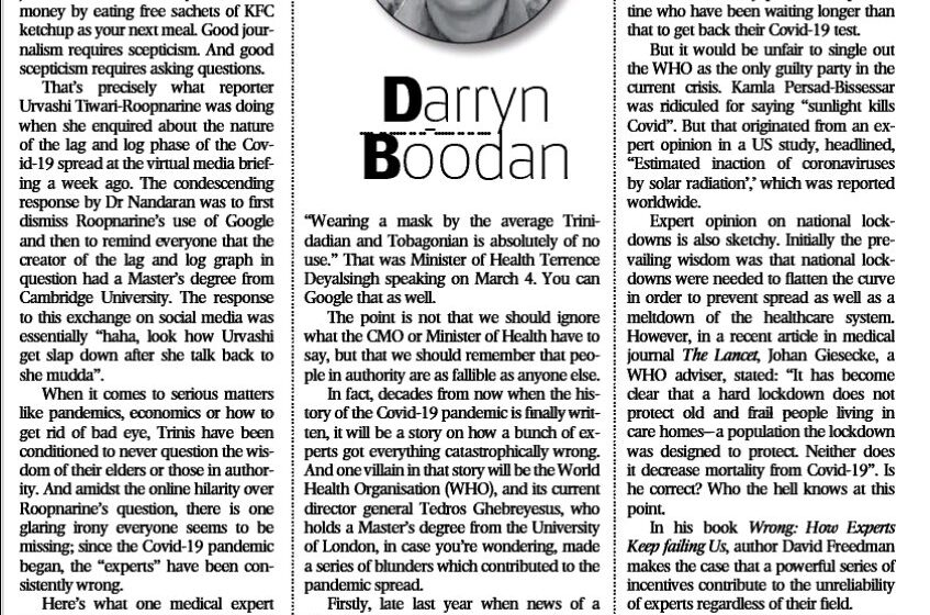 Express Fires Columnist Darryn Boodan…  After Name Appears on Payroll of Opposition Leader Office