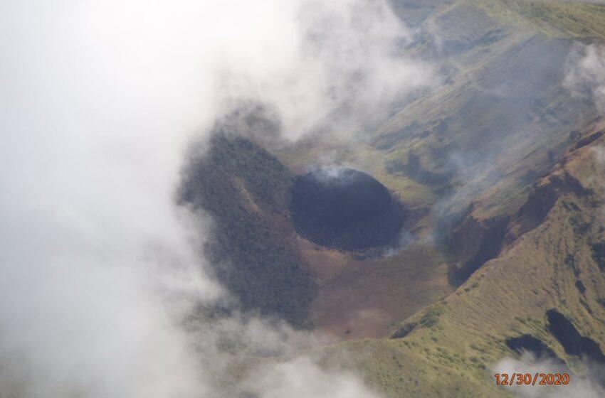 Carbon Dioxide, Sulphur Dioxide Coming out of La Soufrière Volcano