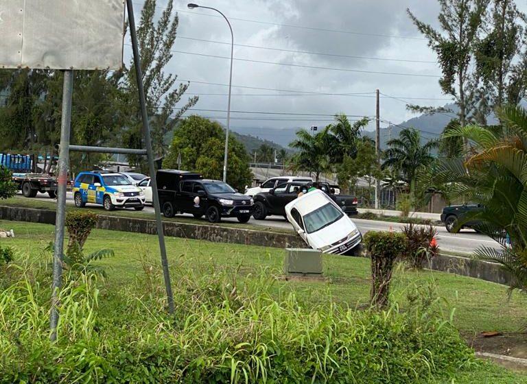 Car Runs Off Road in Aranguez
